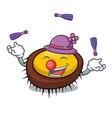 juggling sea urchin mascot cartoon vector image