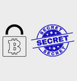 line bitcoin lock icon and scratched secret vector image vector image