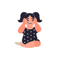 little girl covers ears not to hear quarrel vector image vector image