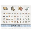 Logistic hand drawing line icons doodle vector image vector image