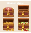 Opened and closed antique chest with coins vector image vector image