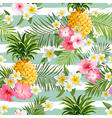 Pineapples and Tropical Flowers Geometry Pattern vector image vector image