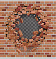 red brick break wal hole destructionl template vector image vector image