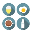 Scrambled Egg Soft-Boiled Egg Milk Coffee Icon vector image