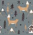 seamless christmas pattern with forest trees vector image