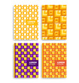 set of abstract square pattern for cards with vector image vector image
