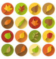 set of round flat icons with long shadow vector image vector image