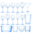 Set of wine glasses and cups vector image vector image