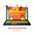 shopping online banner meat products background vector image vector image