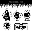 silhouettes cute doodle monsters-bacteria vector image