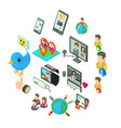 social network icons set isometric style vector image