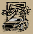 sportcar race with grunge shape background vector image vector image
