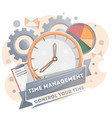 time management poster with clock vector image