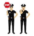 Two policemen holding stop sign vector image
