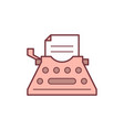 typewriter color line icon vector image vector image