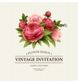 vintage greeting card with blooming peony and vector image