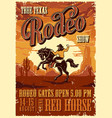 vintage rodeo advertising poster vector image