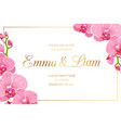 wedding invitation border frame corner pink orchid vector image vector image