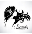 womans hair style stylized silhouette beauty vector image