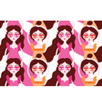 Women doing their hair making massage Girls vector image vector image