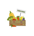 wooden crate full of fresh farm vegetables vector image vector image