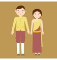couple man woman wearing thai traditional costume vector image