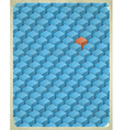 Aged card with cubes pattern vector image