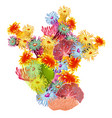 a colorful composition of marine corals and polyps vector image