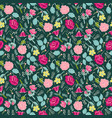 background with flowers and herbs on dark green vector image vector image
