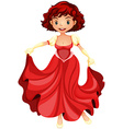 Beautiful girl in red dress vector image vector image