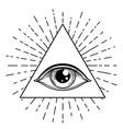 blackwork tattoo flash eye providence masonic vector image vector image