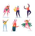 brazilian carnival character set woman dance vector image vector image
