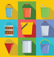 bucket types container icons set flat style vector image