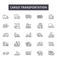 cargo transportation line icons for web and mobile vector image