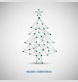 Christmas card with abstract tree of thin lines vector image vector image