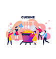 cooking food concept adult cartoon trendy vector image vector image