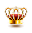 crown with white pearls isolated on white vector image vector image