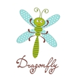 Cute colorful dragonfly character vector image