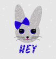 cute rabbit in sequins bunny print vector image