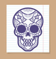 decorative human skull with floral ornament vector image vector image
