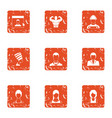 fascination icons set grunge style vector image vector image