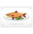 Fish with fins on plate lemon and parsley icon vector image vector image