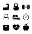 fitness black icons on white background vector image