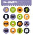 flat halloween icons with creepy symbols vector image