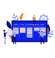 flat man with kanban scrum agile board vector image vector image