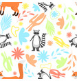 floral seamless pattern with racoon and red fox vector image vector image