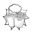 french fries with soda black and white vector image