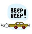 funny cartoon green car vector image vector image