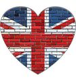 Great Britain flag on a brick wall in heart shape vector image vector image