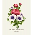 Greeting card with anemone and peony flower vector image vector image
